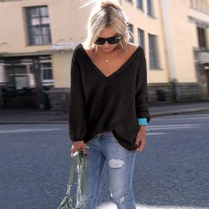 Sweaters - Black Oversized Knit Sweater